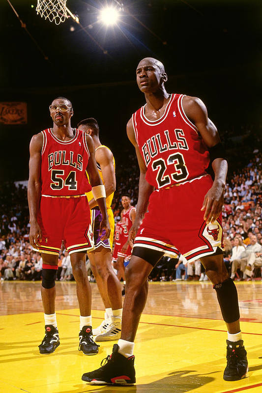 Chicago Bulls Art Print featuring the photograph Horace Grant and Michael Jordan by Andrew D. Bernstein
