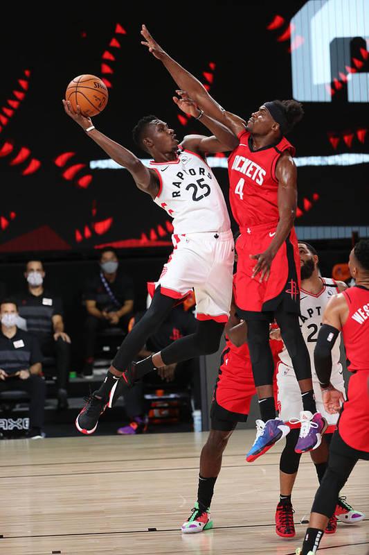 Nba Pro Basketball Art Print featuring the photograph Houston Rockets v Toronto Raptors by Joe Murphy