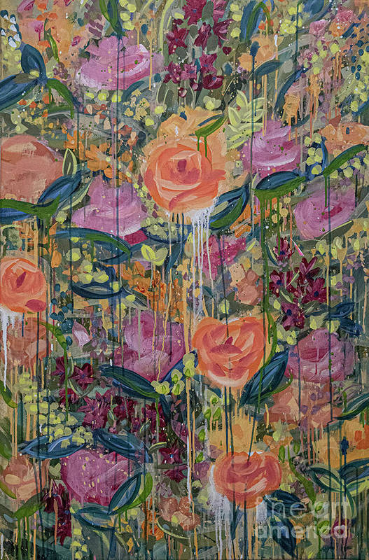 English Garden Art Print featuring the painting In The Garden by Amanda Armstrong