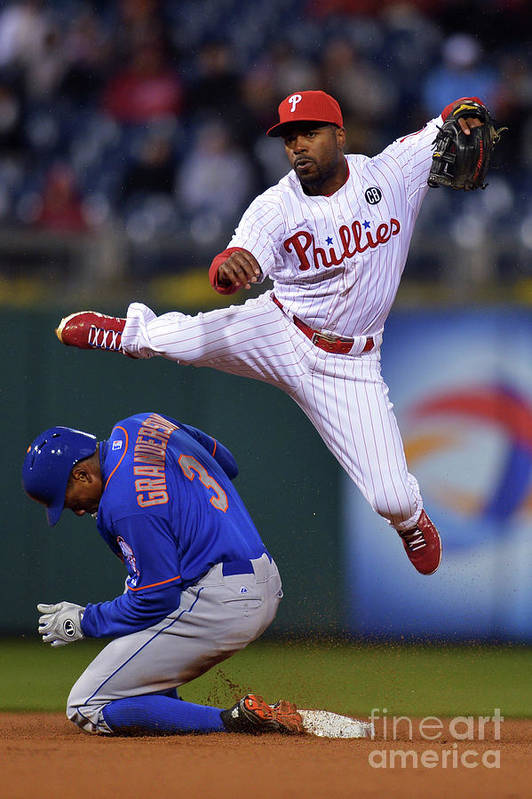 Double Play Art Print featuring the photograph Jimmy Rollins and Curtis Granderson by Drew Hallowell