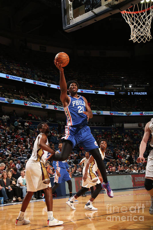 Smoothie King Center Art Print featuring the photograph Joel Embiid by Layne Murdoch