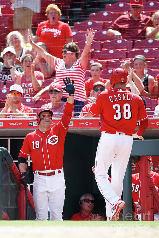 Great American Ball Park Art Print featuring the photograph Joey Votto and Wade Davis by Joe Robbins