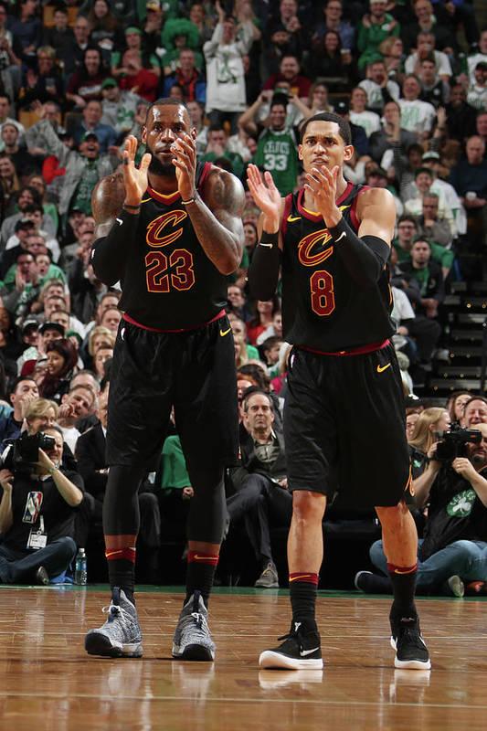 Nba Pro Basketball Art Print featuring the photograph Jordan Clarkson and Lebron James by Nathaniel S. Butler