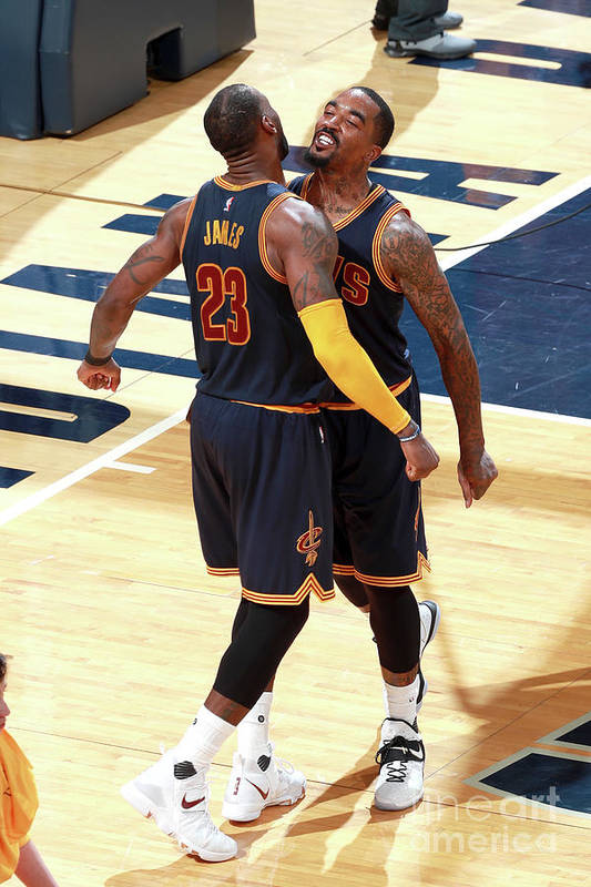 Playoffs Art Print featuring the photograph J.r. Smith and Lebron James by Jeff Haynes