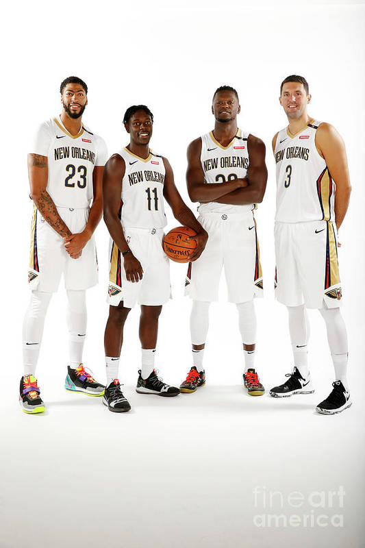 Media Day Art Print featuring the photograph Jrue Holiday, Anthony Davis, and Julius Randle by Jonathan Bachman