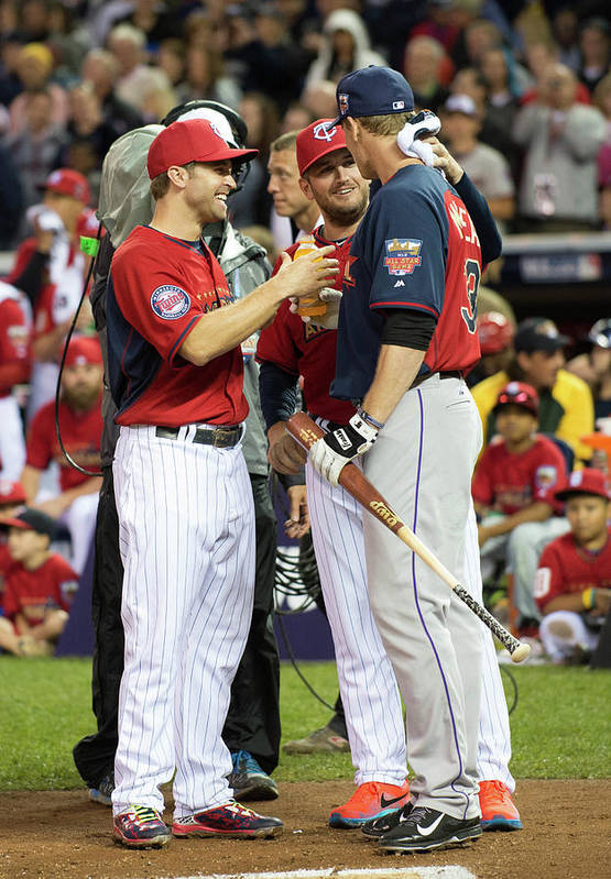 American League Baseball Art Print featuring the photograph Justin Morneau, Glen Perkins, and Brian Dozier by Ron Vesely