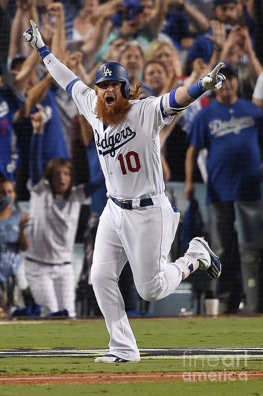Game Two Art Print featuring the photograph Justin Turner by Kevork Djansezian