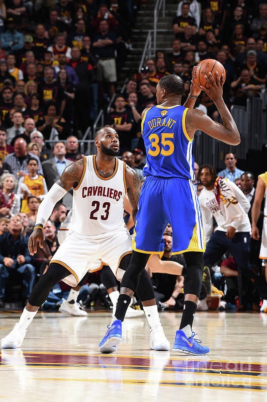 Playoffs Art Print featuring the photograph Kevin Durant and Lebron James by Andrew D. Bernstein