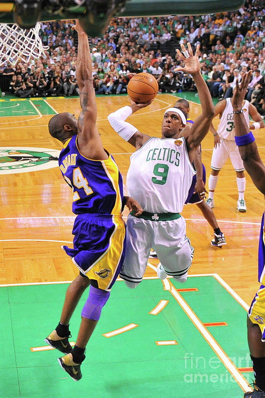 Playoffs Art Print featuring the photograph Kobe Bryant and Rajon Rondo by Brian Babineau
