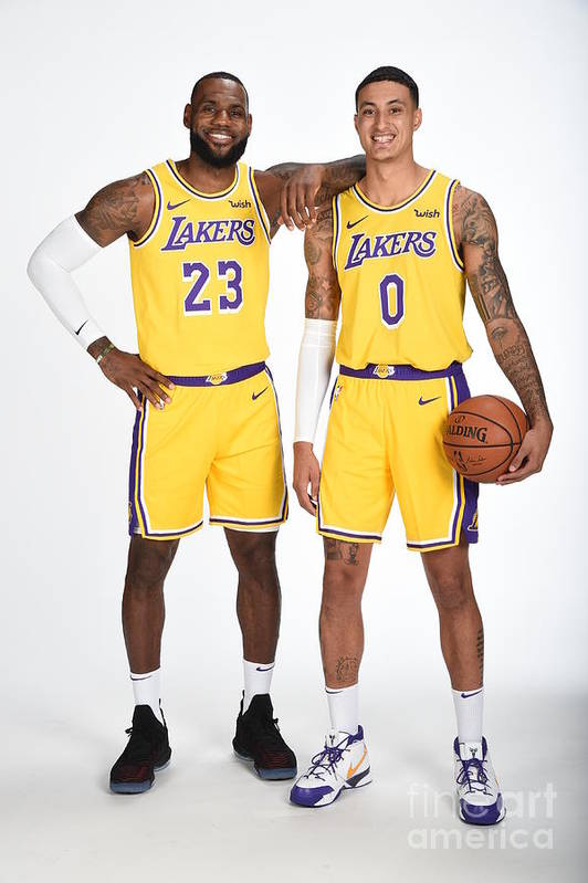 Media Day Art Print featuring the photograph Lebron James and Kyle Kuzma by Andrew D. Bernstein