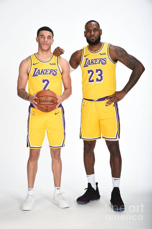 Media Day Art Print featuring the photograph Lonzo Ball and Lebron James by Andrew D. Bernstein