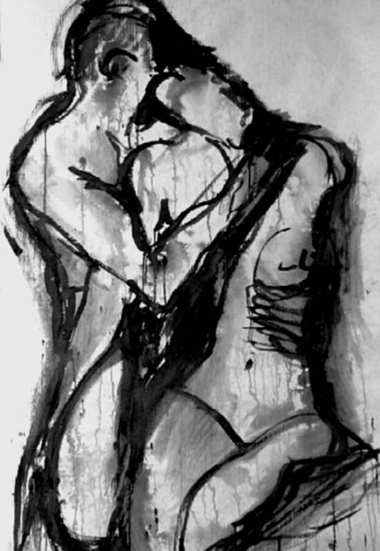 Couple Art Print featuring the painting Love Me Tender by Jarmo Korhonen aka Jarko