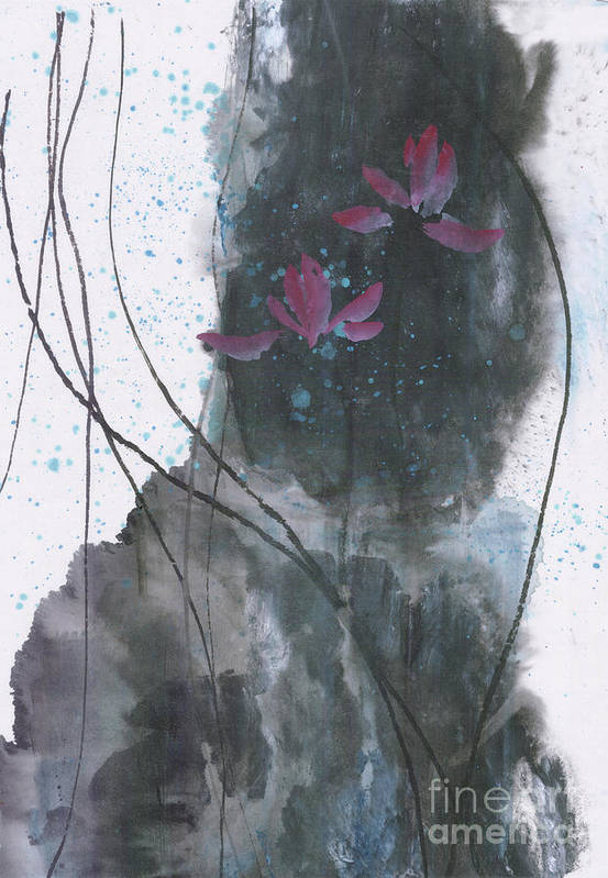 Lotus Emerged Out Of The Sludge Art Print featuring the painting Lovely Lotus by Mui-Joo Wee