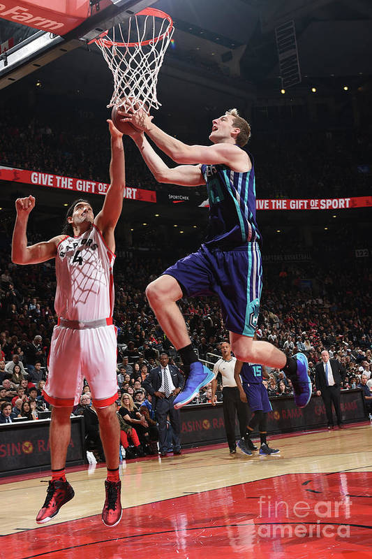 Nba Pro Basketball Art Print featuring the photograph Luis Scola and Cody Zeller by Ron Turenne