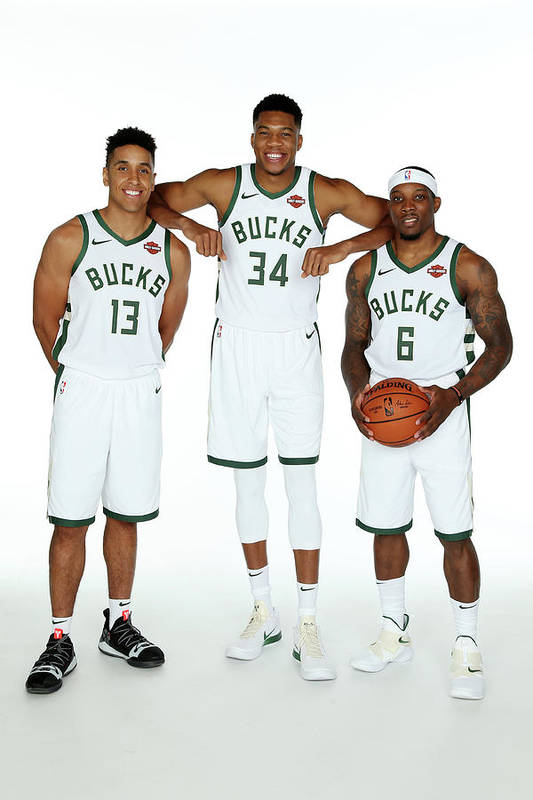 Media Day Art Print featuring the photograph Malcolm Brogdon, Giannis Antetokounmpo, and Eric Bledsoe by Gary Dineen