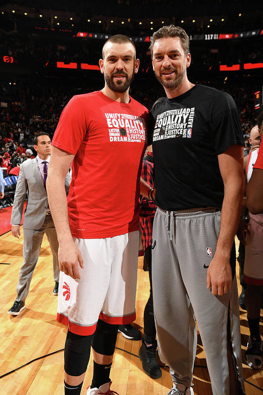 Nba Pro Basketball Art Print featuring the photograph Marc Gasol and Pau Gasol by Ron Turenne