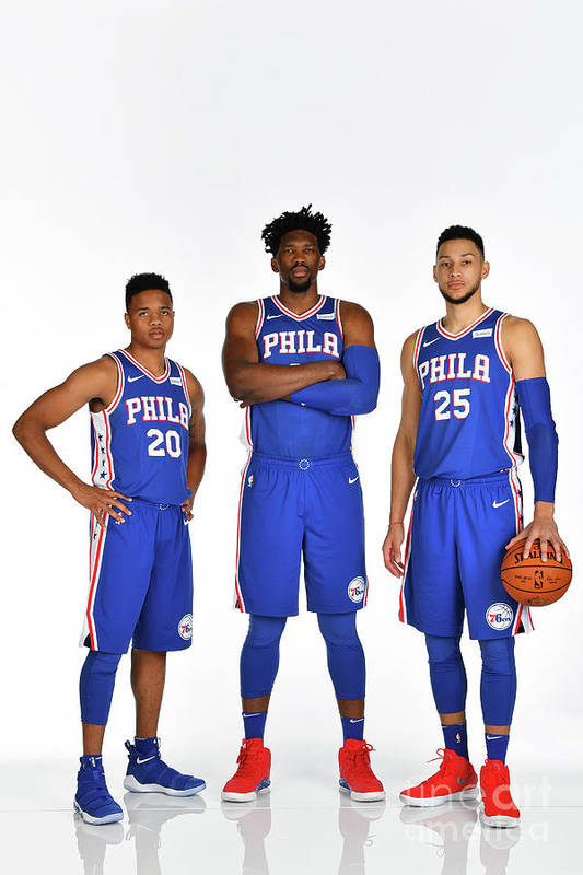 Media Day Art Print featuring the photograph Markelle Fultz, Ben Simmons, and Joel Embiid by Jesse D. Garrabrant