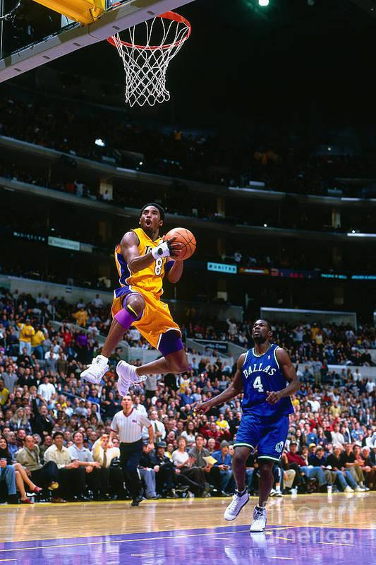 Nba Pro Basketball Art Print featuring the photograph Michael Finley and Kobe Bryant by Robert Mora
