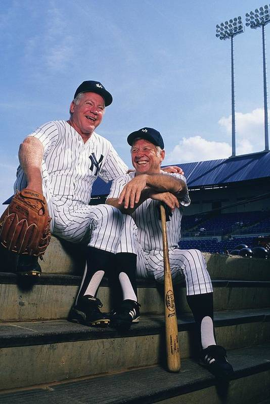 1980-1989 Art Print featuring the photograph Mickey Mantle and Whitey Ford by Ronald C. Modra/sports Imagery