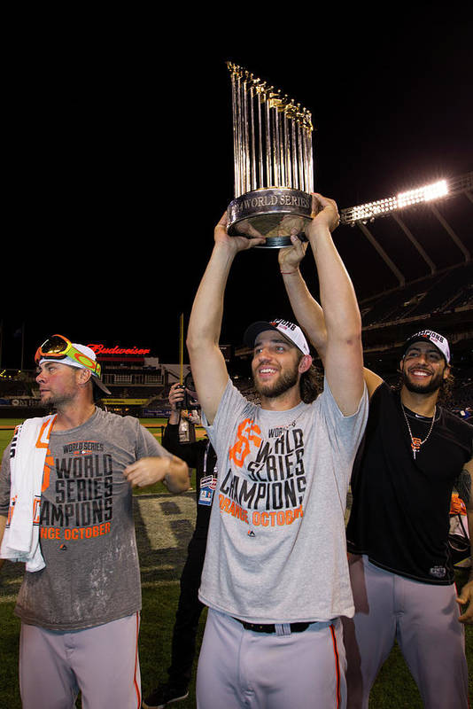 Playoffs Art Print featuring the photograph Mike Morse, Ryan Vogelsong, and Madison Bumgarner by Brad Mangin