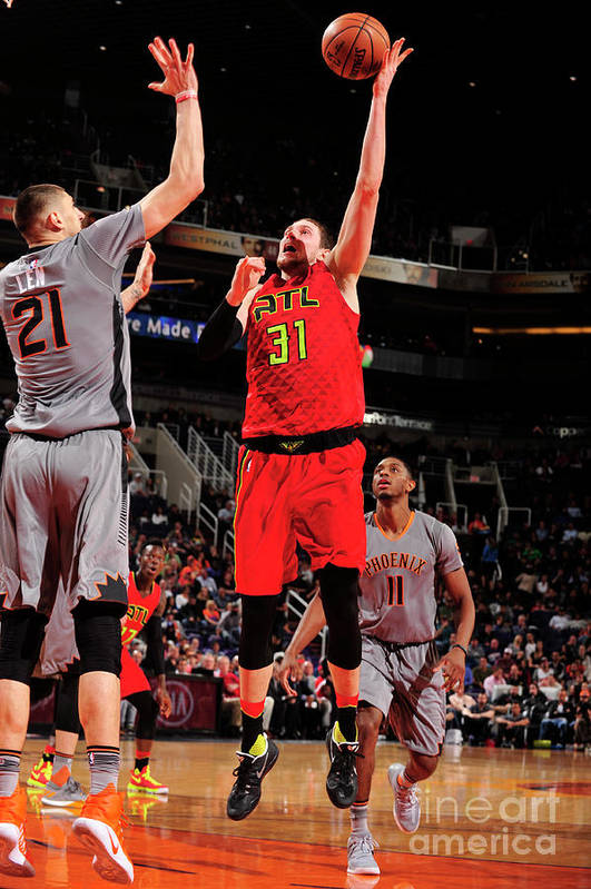 Nba Pro Basketball Art Print featuring the photograph Mike Muscala by Barry Gossage