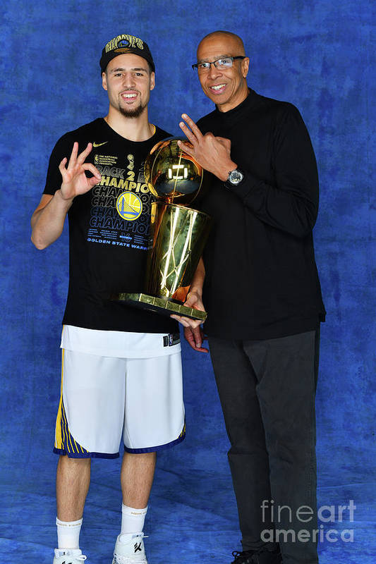 Playoffs Art Print featuring the photograph Mychal Thompson and Klay Thompson by Jesse D. Garrabrant