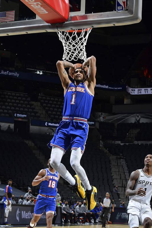Nba Pro Basketball Art Print featuring the photograph New York Knicks v San Antonio Spurs by Logan Riely