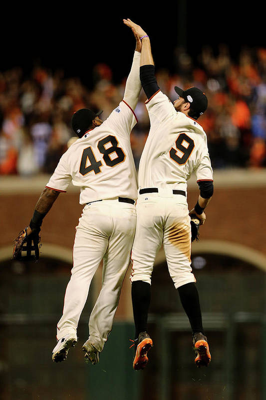 San Francisco Art Print featuring the photograph Pablo Sandoval and Brandon Belt by Elsa