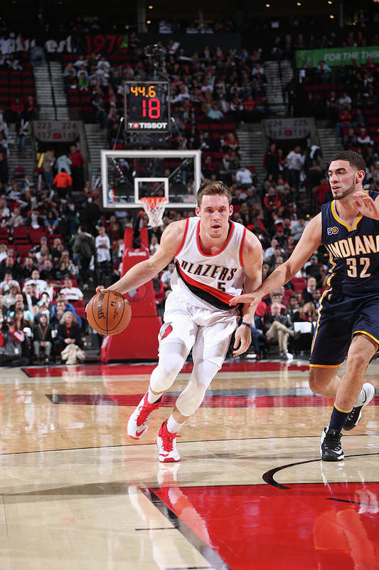 Nba Pro Basketball Art Print featuring the photograph Pat Connaughton and Georges Niang by Sam Forencich