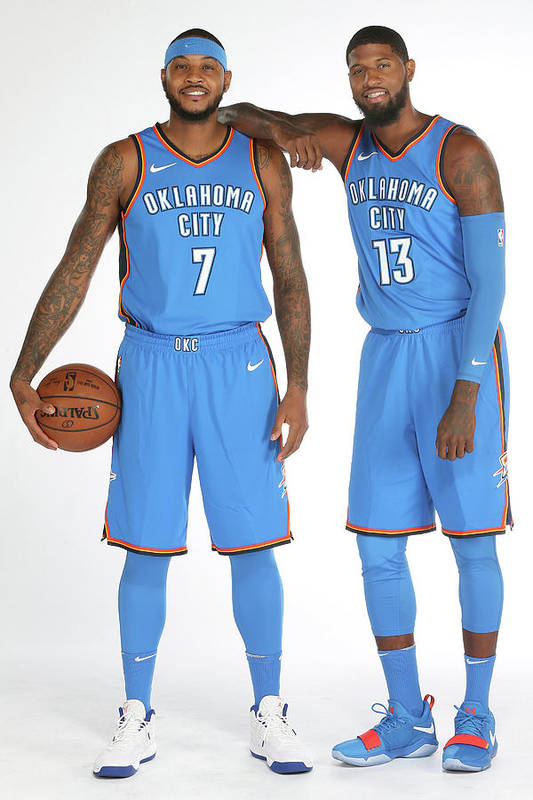 Media Day Art Print featuring the photograph Paul George and Carmelo Anthony by Layne Murdoch