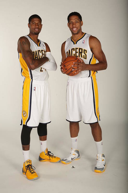 Media Day Art Print featuring the photograph Paul George and Danny Granger by Ron Hoskins