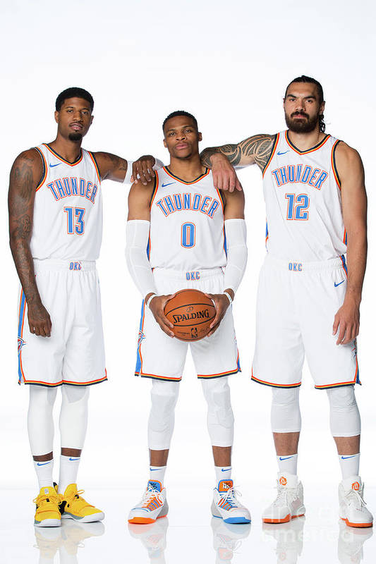 Media Day Art Print featuring the photograph Paul George, Russell Westbrook, and Steven Adams by Nba Photos