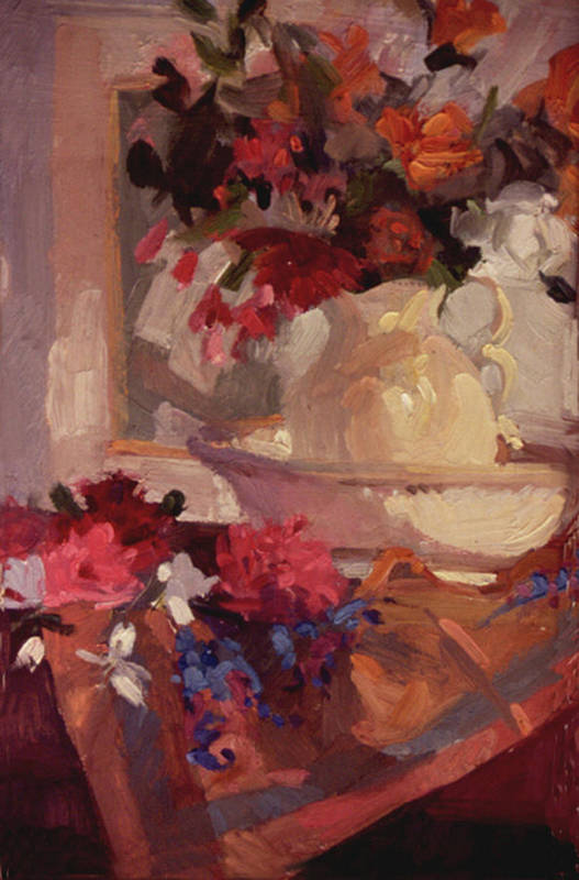 Still Life Art Print featuring the painting Porcelain and Peonies by Betty Jean Billups