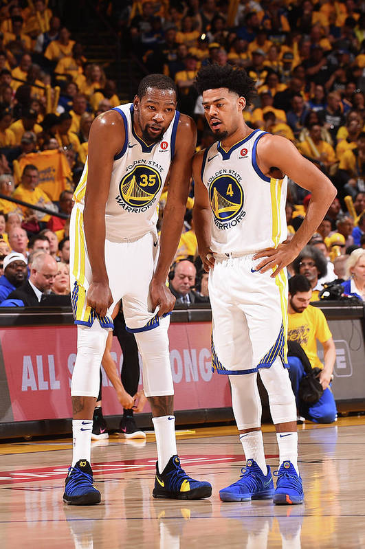 Playoffs Art Print featuring the photograph Quinn Cook and Kevin Durant by Noah Graham