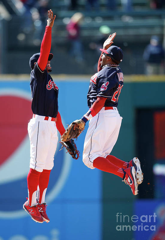 People Art Print featuring the photograph Rajai Davis and Francisco Lindor by Ron Schwane