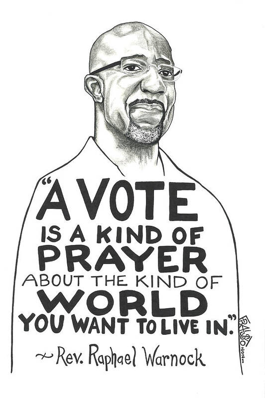 Pen And Ink Illustration Art Print featuring the drawing Rev. Raphael Warnock Drawing by Rick Frausto