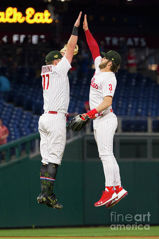 People Art Print featuring the photograph Rhys Hoskins And Bryce Harper by Mitchell Leff