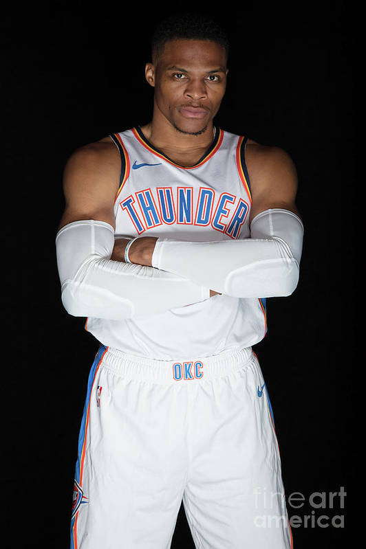 Media Day Art Print featuring the photograph Russell Westbrook by Michael J. Lebrecht Ii