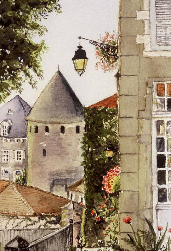 France Art Print featuring the painting Semur en Auxois by Mary Ellen Mueller Legault