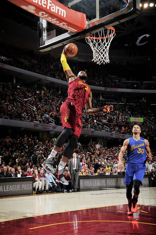 Nba Pro Basketball Art Print featuring the photograph Stephen Curry and Lebron James by David Liam Kyle