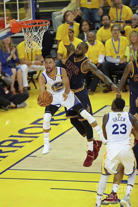 Playoffs Art Print featuring the photograph Stephen Curry and Lebron James by Joe Murphy