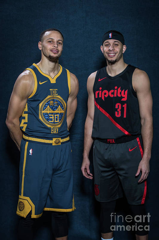 Nba Pro Basketball Art Print featuring the photograph Stephen Curry and Seth Curry by Michael J. Lebrecht Ii
