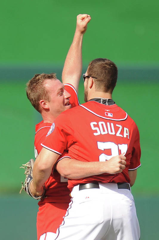 Celebration Art Print featuring the photograph Steven Souza and Jordan Zimmermann by Mitchell Layton