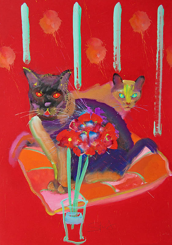 Burmese Cat Art Print featuring the painting Symphony In Red Two by Charles Stuart