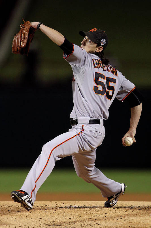 American League Baseball Art Print featuring the photograph Tim Lincecum by Doug Pensinger