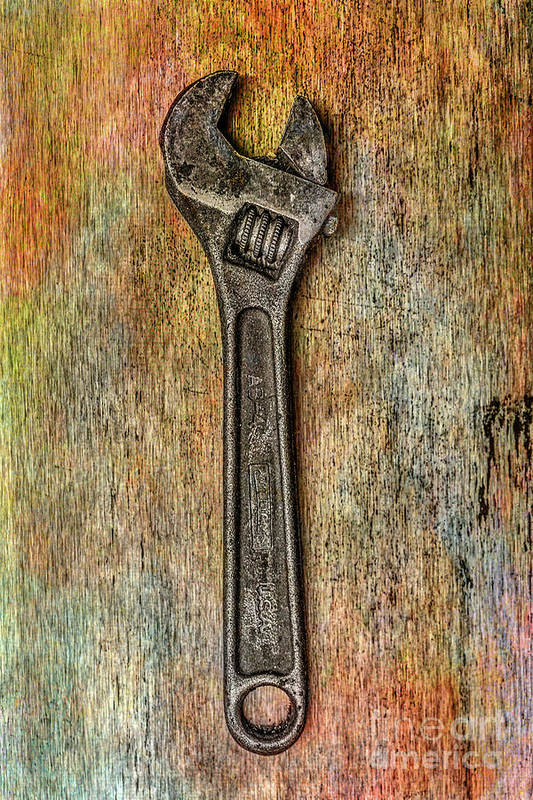 Tool On Rusty Metal Art Print featuring the digital art Tool on Rusty Metal Two by Randy Steele
