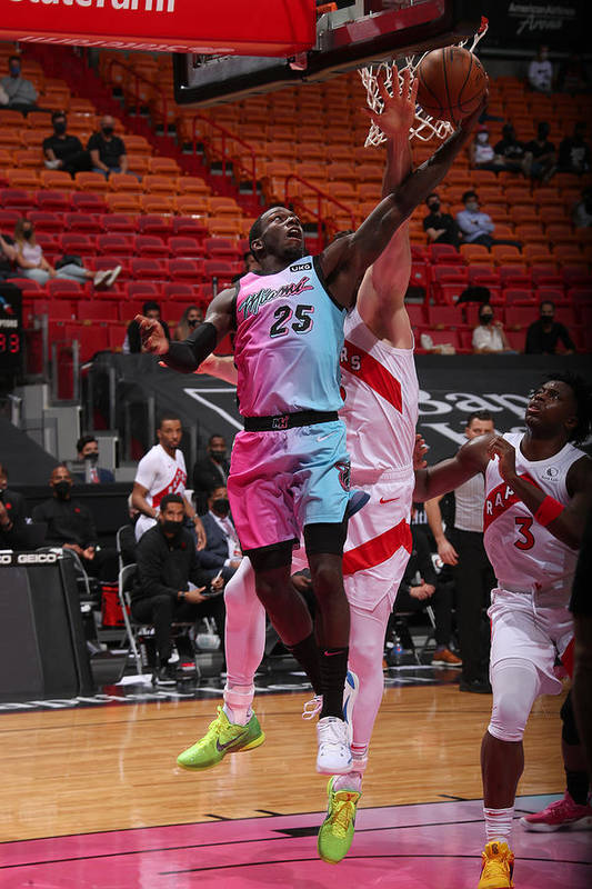 Nba Pro Basketball Art Print featuring the photograph Toronto Raptors v Miami Heat by Issac Baldizon