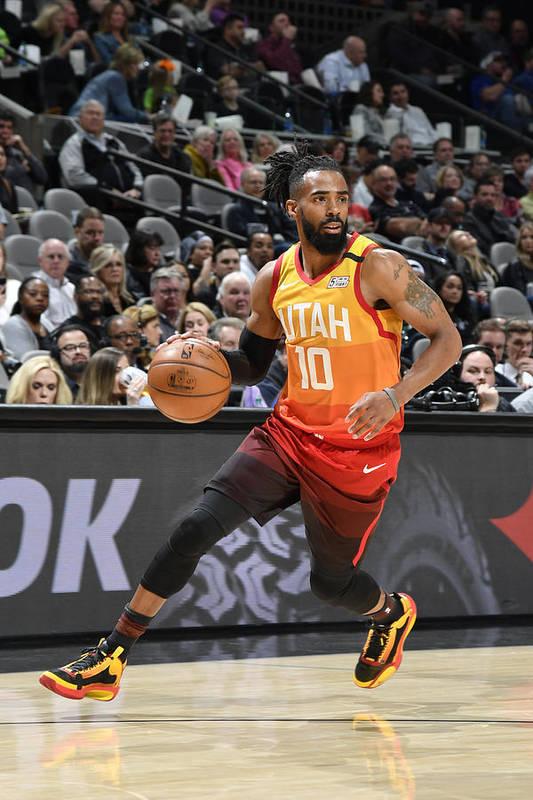 Nba Pro Basketball Art Print featuring the photograph Utah Jazz v San Antonio Spurs by Logan Riely