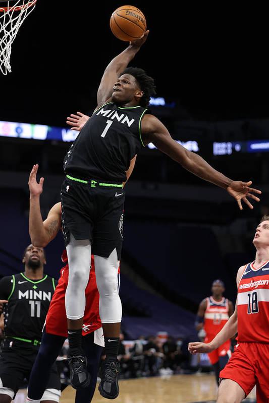 Nba Pro Basketball Art Print featuring the photograph Washington Wizards v Minnesota Timberwolves by Jordan Johnson