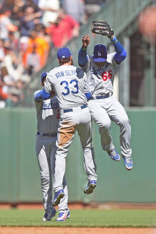 San Francisco Art Print featuring the photograph Yasiel Puig, Scott Van Slyke, and Matt Kemp by Jason O. Watson